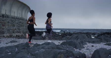 amizade : Rear view of two mixed race women enjoying free time by the seaside, jogging on a rocky beach, slow motion Stock Footage