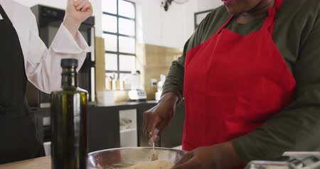american cuisine : Side view close up of a senior African American woman and a Caucasian female chef talking during cookery class, the African American woman mixing in a bowl and smiling, while the chef watches, talking, clicking fingers and claps, in slow motion Stock Footage