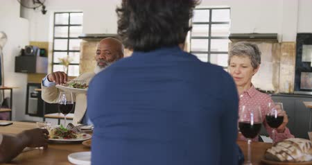 lunchen : Front view of a multi-ethnic group of senior adults sitting at a table relaxing with their colleagues after a cookery class in a restaurant kitchen, talking and serving each other the food they have prepared, in slow motion Stockvideo