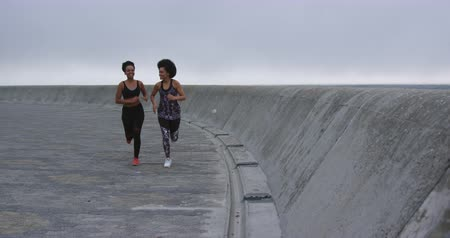 ikrek : Front view of two mixed race women enjoying free time by the seaside, running towards the camera, in slow motion
