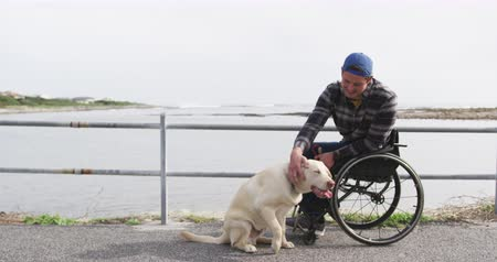 inwalida : Front view of a Caucasian man in a wheelchair enjoying taking a walk with his dog in the countryside by the sea, stroking his dog in slow motion