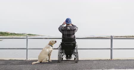 paraplegic : Rear view of a Caucasian man in a wheelchair enjoying taking a walk with his dog in the countryside by the sea, taking a photo in slow motion