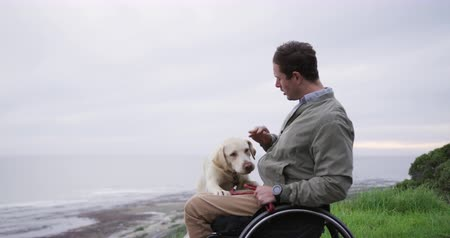 paraplegic : Side view of a Caucasian man in a wheelchair enjoying taking a walk with his dog in the countryside by the sea, stroking his dog in slow motion