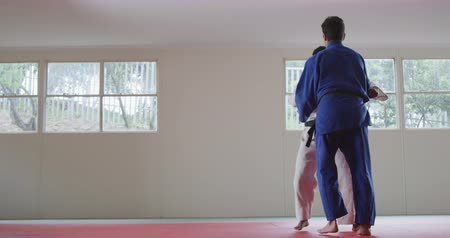 zametat : Rear view of a mixed race male judo coach and teenage mixed race male judoka, wearing blue and white judogi, practicing judo during a training in a gym, the teenager throwing the coach on the mat in slow motion. Dostupné videozáznamy