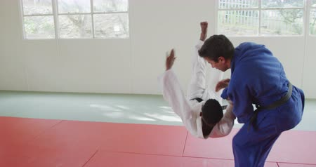 free throw : Side view of a mixed race male judo coach and teenage mixed race male judoka, wearing blue and white judogi, practicing judo during a training in a gym, the coach throwing the teenager on the mat in slow motion. Stock Footage