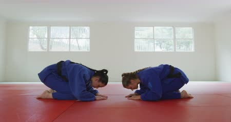 ajoelhado : Side view of teenage mixed race and Caucasian female judokas wearing blue judogi, kneeling on mats in the gym, looking at each other before judo training in slow motion,