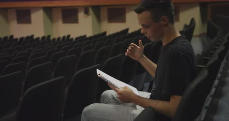 acteur : Side view of a Caucasian teenage boy in an empty high school theater, sitting in the auditorium preparing for a performance, holding a script and learning lines