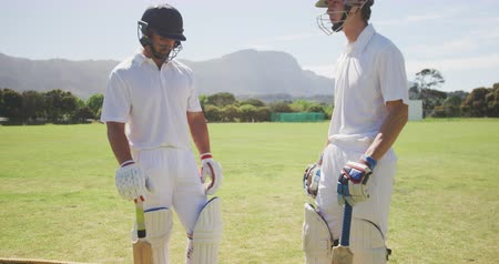 cricket pads : Low angle side view of two teenage multi-ethnic male cricket players wearing whites, helmets and cricket pads, standing on the pitch, holding their cricket bats and talking, in slow motion