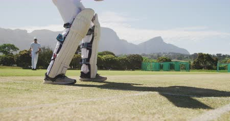 cricket pads : Low angle side view of a teenage Caucasian male cricket batsman wearing a helmet and holding a cricket bat, trying to hit the ball during a cricket match on a sunny day, in slow motion. Stock Footage