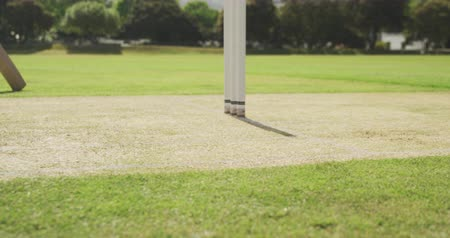 wicket : Side view low section of a teenage Caucasian male cricket player wearing whites, running up to bowl the ball on the pitch during a cricket match, a batsman preparing to run in the background, slow motion Stock Footage