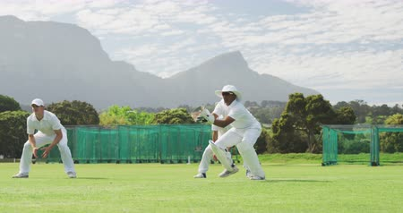 wicket : Front view of an Asian male cricket player wearing whites, squatting on a cricket pitch, diving and catching the ball during a match on a sunny day in slow motion