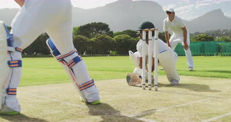 wicket : Side view of a teenage African American male cricket player wearing whites, helmet and gloves, standing on the pitch during a cricket match, squatting, catching a cricket ball, celebrating in slow motion
