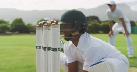 cricket pads : Side view close up of a teenage African American male cricket player wearing whites, helmet and gloves, playing wicket keeper position on the pitch during a cricket match, catching a cricket ball and stumping a batsman in slow motion