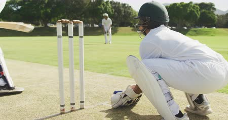 cricket pads : Rear view of a teenage African American male cricket player wearing whites, helmet and gloves, playing wicket keeper position on the pitch during a cricket match, catching a cricket ball and stumping a batsman in slow motion