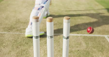 cricket pads : Rear view low section of a teenage male cricket player on the pitch holding a cricket bat, failing to hit the ball, which hits the stump in the foreground, bowled out during a cricket match, in slow motion
