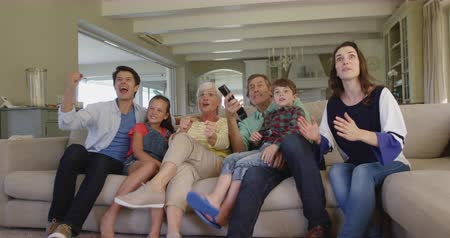 torcendo : Low angle front view of six members of a multi-generation Caucasian family at home sitting on a sofa in the living room, watching TV and all cheering and rasing fists in victory