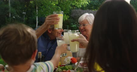limonada : Over the shoulder view of a multi-generation Caucasian family sitting outside at a dinner table set for a meal, raising glasses, reaching across the table and making a toast, slow motion
