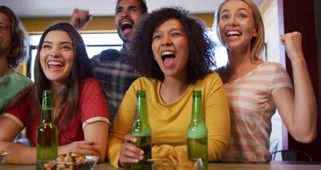 torcendo : Front view of a group of five multi-ethnic male and female friends at the bar in a pub during the day, watching a sports game, holding bottles of beer, cheering, fist bumping, smiling and laughing in celebration together in slow motion Vídeos