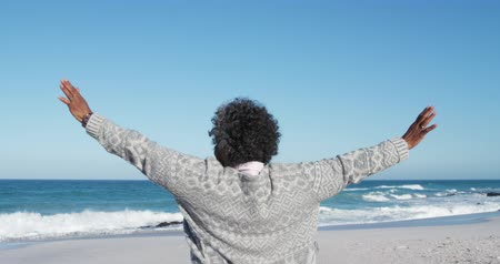 emelt : Rear view of a senior African American woman standing on the beach with blue sky and sea in the background, raising her arms, looking out to sea in slow motion