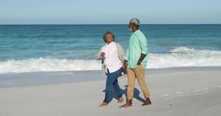 Деятельность выходные : Side view of a senior African American couple enjoying time on the beach with blue sky and sea in the background, holding hands, walking barefoot and interacting in slow motion