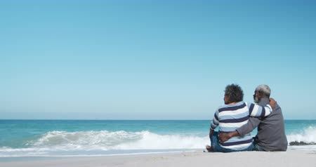 emelt : Rear view of a senior African American couple sitting on the beach with blue sky and sea in the background, embracing each other, raising their arms, in slow motion Stock mozgókép