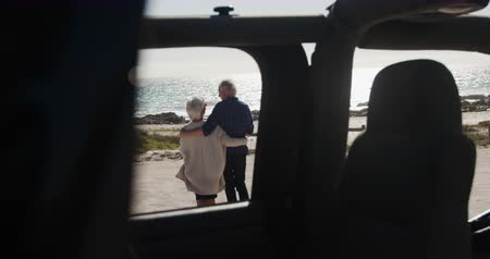 roadtrip : Rear view of a senior Caucasian couple on the beach in the sun during a road trip, embracing and walking, seen through a car in the foreground in slow motion Stock Footage
