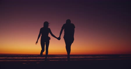 companheiro : Rear view of a young couple in silhouette enjoying free time running on a beach by the sea at sunset