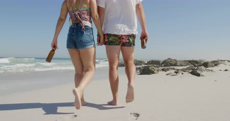 companheiro : Rear view of a young Caucasian couple enjoying free time walking and drinking beer on a sunny beach by the sea