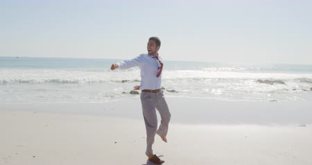 Деятельность выходные : Front view of a young mixed race businessman enjoying free time dancing and kicking his shoes off on a sunny beach by the sea