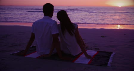 companheiro : Rear view of a young mixed race couple enjoying free time watching sunset on a beach by the sea