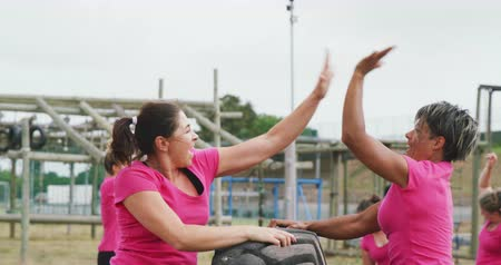 deneme : Side view of a happy Caucasian woman and mixed race of female friend enjoying exercising at boot camp together, holding a tractor tyre and high fiving, with other participants in the background, in slow motion Stok Video