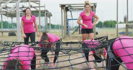 ползком : Front view of a happy multi-ethnic group of women wearing pink t shirts enjoying exercising at boot camp together, waiting for their turn and crawling under a net, in slow motion Стоковые видеозаписи
