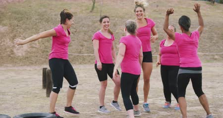 engel : Front view of a happy multi-ethnic group of female friends wearing pink t shirts enjoying exercising at boot camp together, smiling and high fiving, celebrating after training, in slow motion