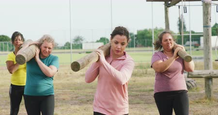 birlik : Front view of a happy multi-ethnic group of women enjoying exercising at boot camp together, carrying wooden posts on their shoulders, in slow motion