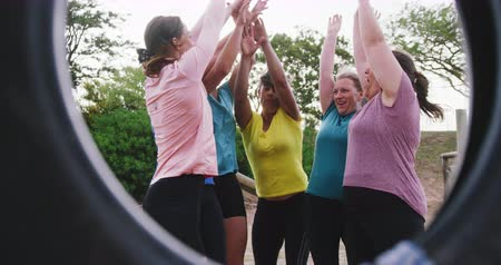 torcendo : Front view of a happy multi-ethnic group of female friends enjoying exercising at boot camp together, hand stacking, raising arms and cheering after training together, seen through a tyre, in slow motion Vídeos