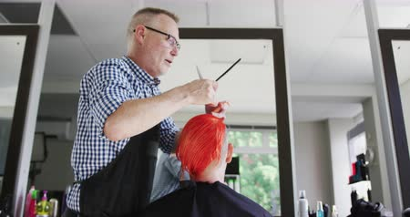 tecnica : Alternative cool hair salon. Side view of a Caucasian male hairdresser working in a hair salon, combing and cutting red hair of a Caucasian female client, in slow motion Filmati Stock