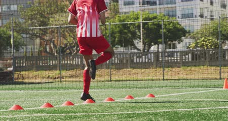 fotbal : Rear view low section of a mixed race male football player wearing a team strip, training at a sports field in the sun, jumping over red cones in slow motion Dostupné videozáznamy