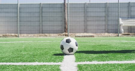 futball : Side view low section of a mixed race male football player with a prosthetic leg wearing a team strip, training at a sports field in the sun, kicking a ball, in slow motion