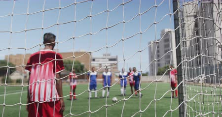 visto : Front view of a multi-ethnic group of male football players wearing a team strip, training at a sports field in the sun, playing a match, executing a penalty kick, seen through goal net in slow motion Stock Footage