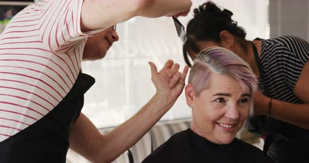 zmiana : Alternative cool hair salon. Front view of a happy Caucasian male hairdresser working in a hair salon, holding brush, colouring hair and discussing with a Caucasian female client in slow motion