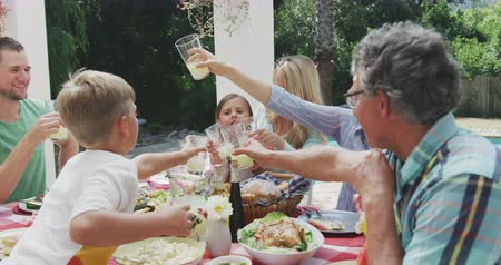 vychovávat : Side view of a multi-generation Caucasian family having a good time together, sitting in a garden, by a table with food on it, raising their glasses, making a toast, on a sunny day, in slow motion