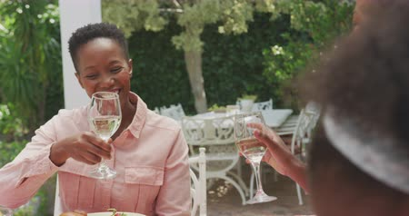torcendo : Side view of two African American women having a good time together, sitting by a table in a garden, making a toast with glasses filled with wine, in slow motion