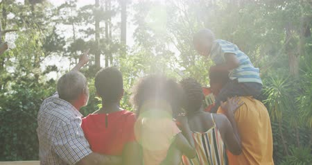 sourozenci : Rear view of a multi-generation multi-ethnic family having a good time in a garden,standing, admiring the view, smiling, on a sunny day, in slow motion