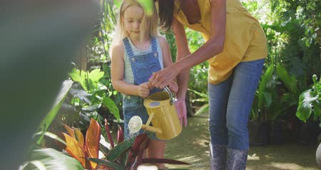 watering can : Front view of a Caucasian woman and her daughter enjoying time together in a sunny garden, looking at plants together, watering plants with watering can, in slow motion Stock Footage