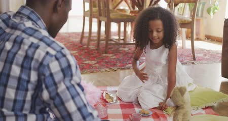 ursinho de pelúcia : Rear view of an African American man and his mixed race daughter enjoying time at home together, sitting on a floor in a sitting room, having a dolls tea party, in slow motion Vídeos