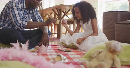 beer : Front view of an African American man and his mixed race daughter enjoying time at home together, sitting on a floor in a sitting room, having a dolls tea party, having a toast, in slow motion Stockvideo