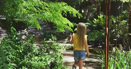 botanik : Rear view of a Caucasian girl with long blonde hair walking along a path, exploring in a sunny garden, in slow motion Stok Video