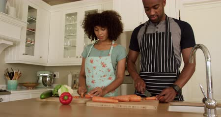 adam : Front view of a mixed race couple enjoying their time together in an apartment, standing in a kitchen, wearing cooking aprons, cooking, cutting vegetables, in slow motion. Social distancing and self isolation in quarantine lockdown