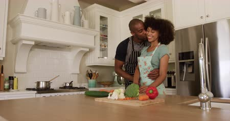 objetí : Side view of a mixed race couple enjoying their time together in an apartment, standing in a kitchen, wearing cooking aprons, cooking, embracing, in slow motion. Social distancing and self isolation in quarantine lockdown