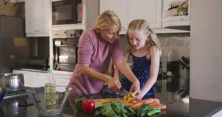 mutlu : Happy Caucasian woman enjoying family time with her daughter at home together, cooking, preparing a salad, cutting vegetables and smiling in their kitchen, social distancing and self isolation in quarantine lockdown, in slow motion. Stok Video